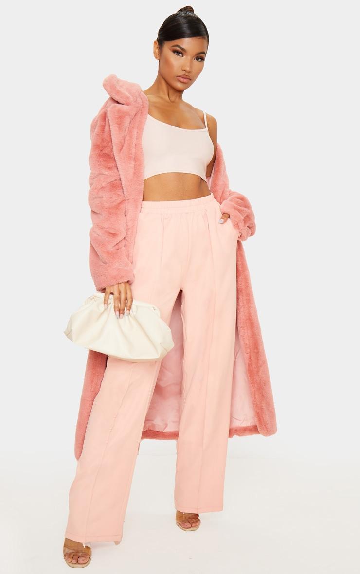 Pantalon rose jambes évasées à taille froncée 1