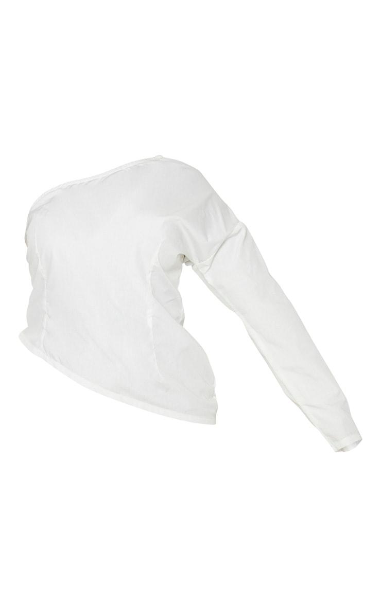 Plus White Poplin One Shoulder Blouse 4