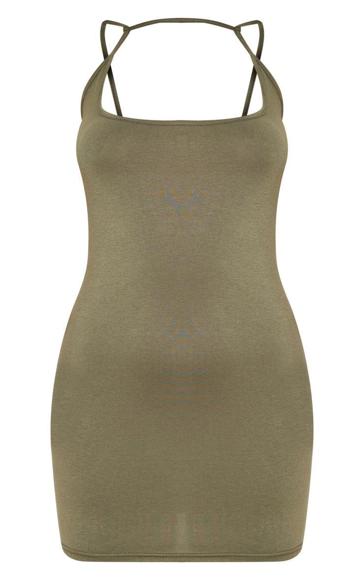 Olive Khaki Strappy Front Detail Bodycon Dress 3