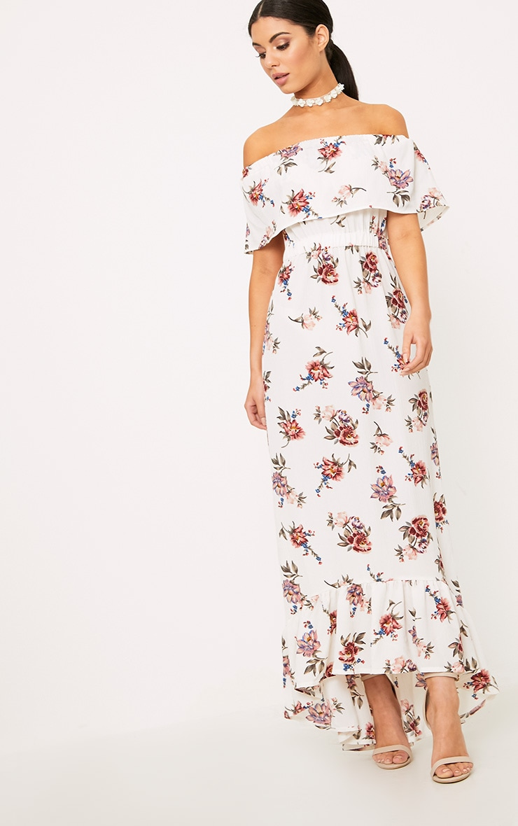 Julianna White Bardot Floral Maxi Dress 4