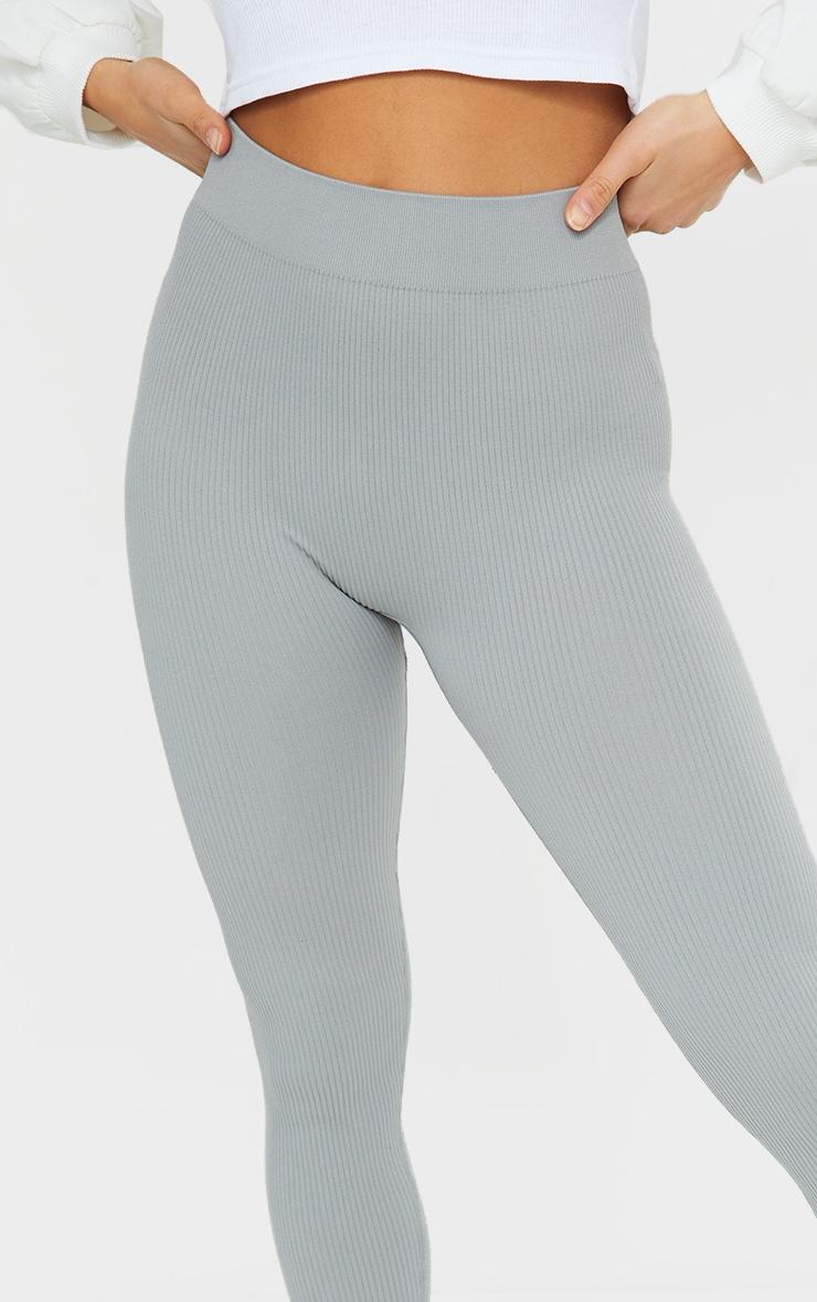 Petite Grey Structured Contour Rib Leggings 4