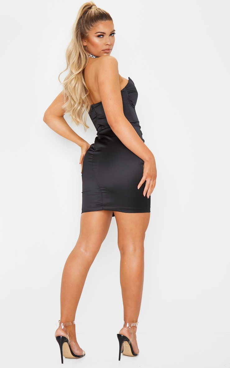 Black Bandeau Binding Cup Detail Bodycon Dress 2