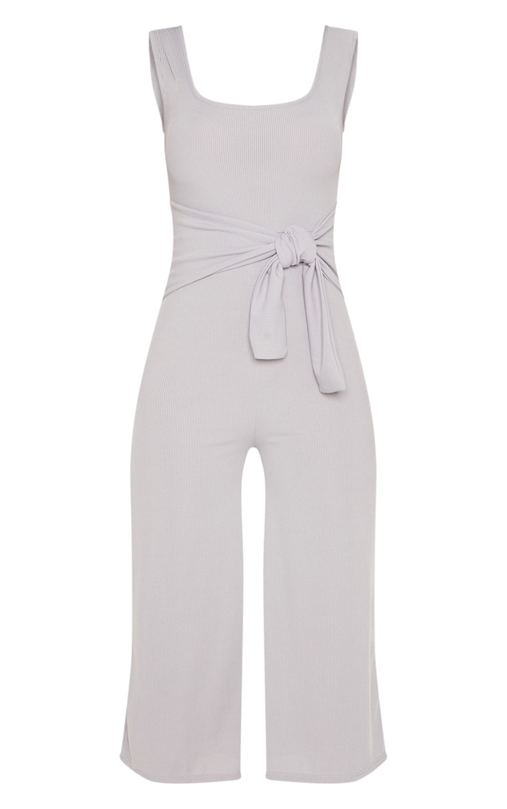 Grey Ribbed Tie Waist Culotte Jumpsuit 3
