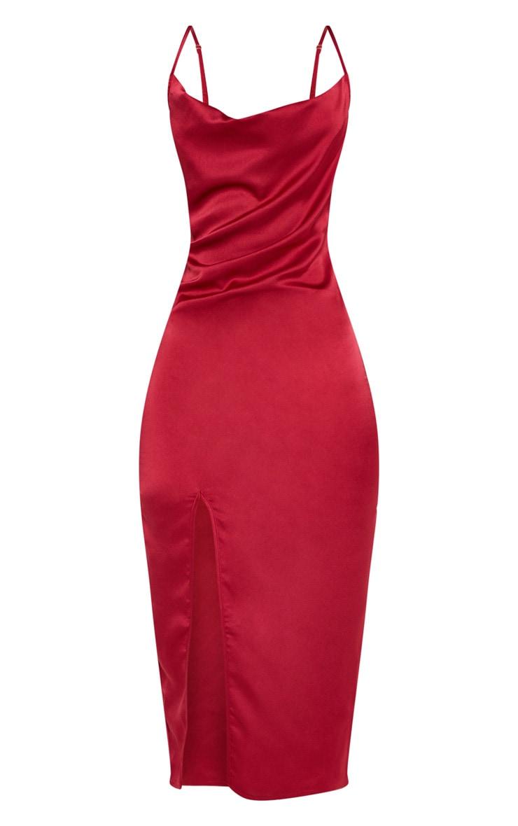 Burgundy Strappy Satin Cowl Midi Dress 3