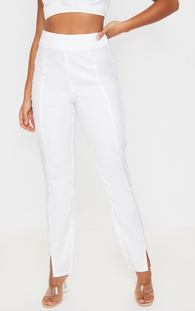 White Straight Leg Woven Suit Pants 2