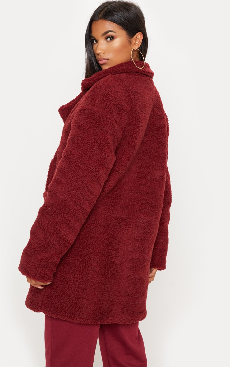Burgundy Borg Midi Coat  2