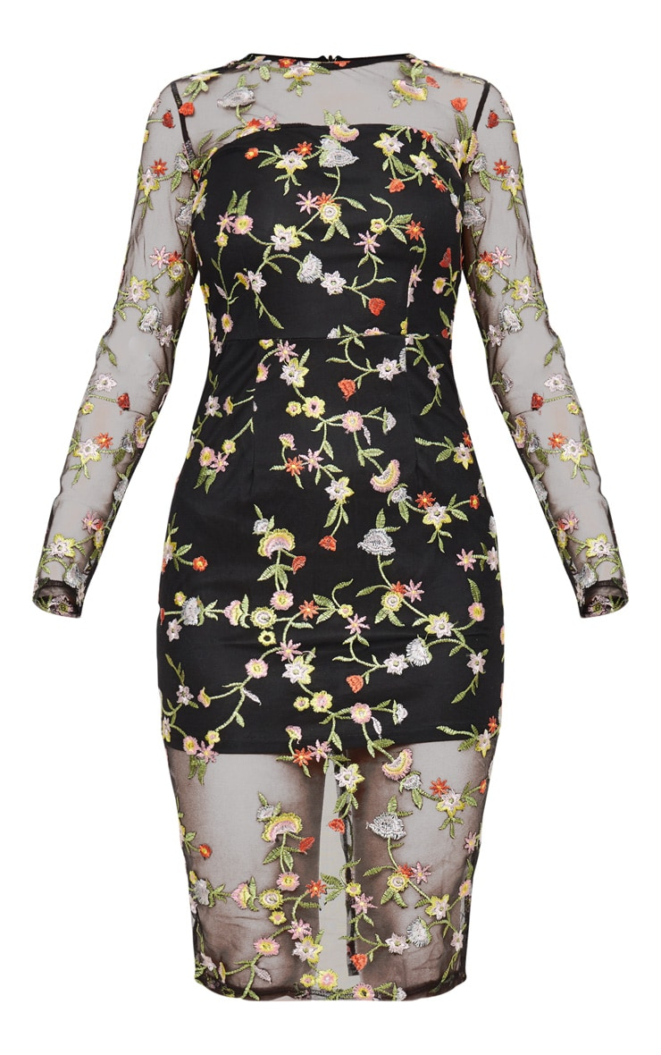 Ireenah Black Embroidered Floral Sheer Lace Midi Dress  3