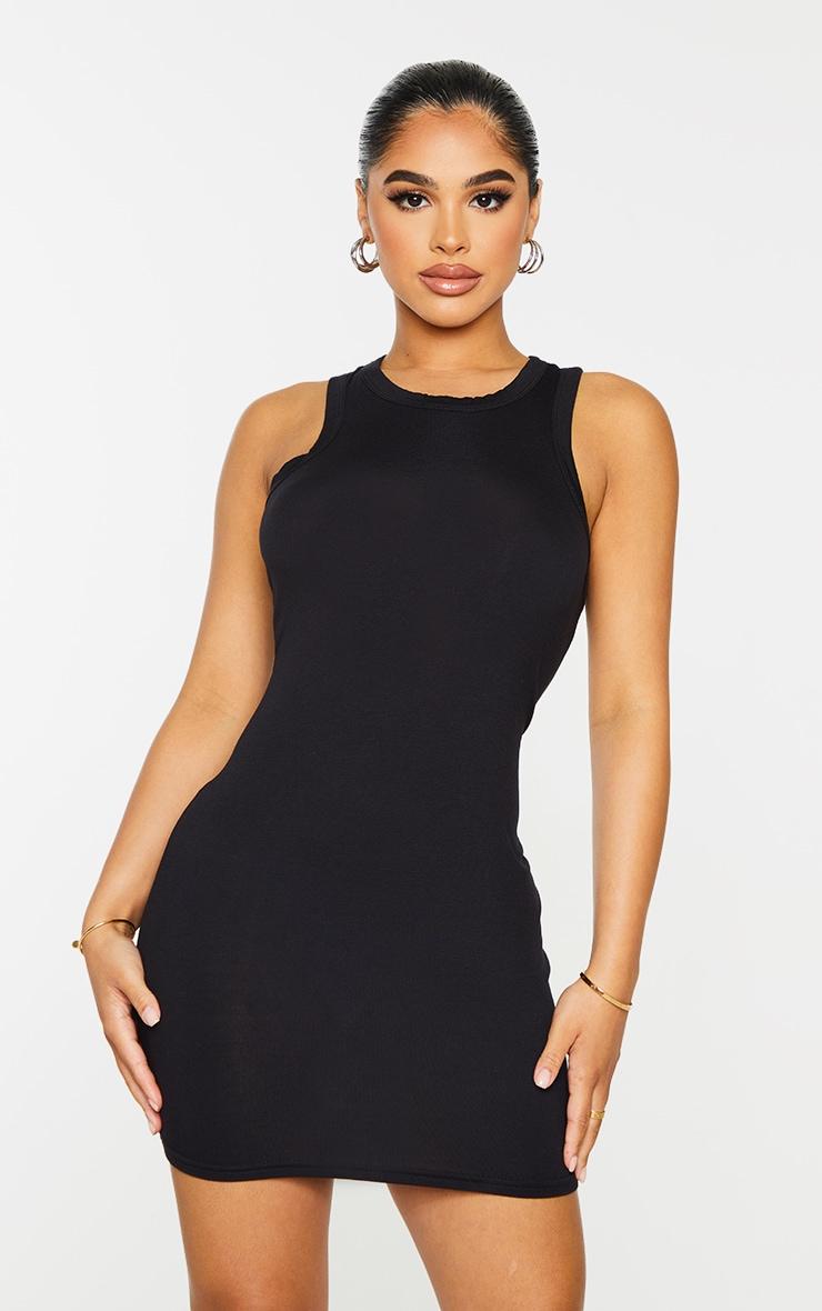 Petite Black Racer Neck Mini Dress