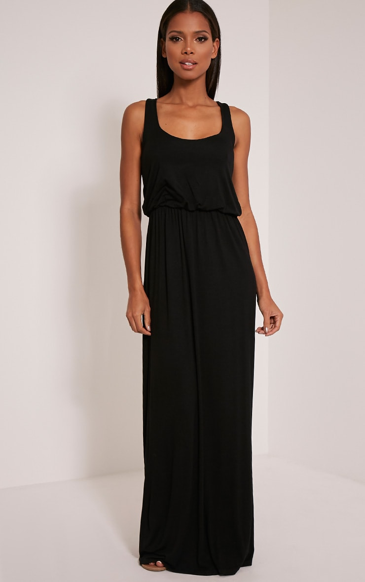 Basic Black Racer Back Maxi Dress 1
