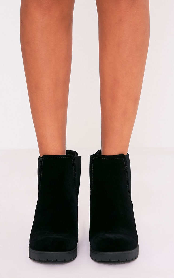 Daria Black Faux Suede Heeled Ankle Boots 3