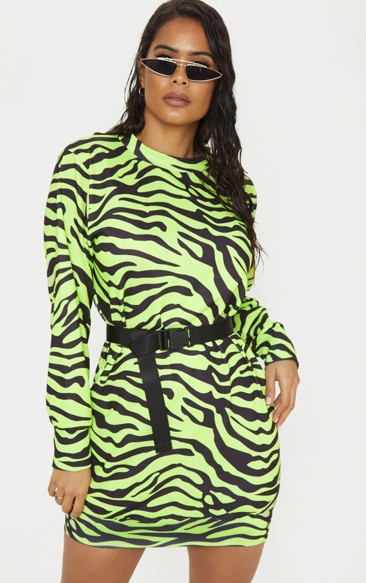 Lime High Neck Zebra Print Jumper Dress