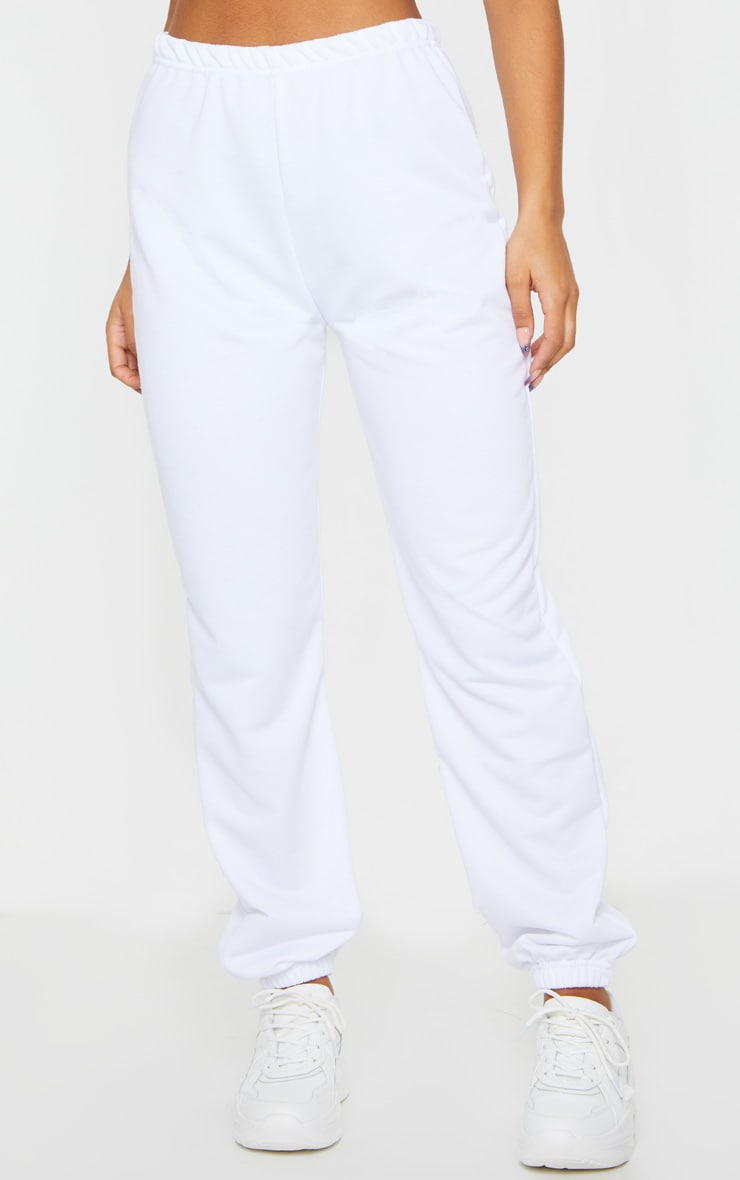 White Basic Cuffed Hem Jogger 2