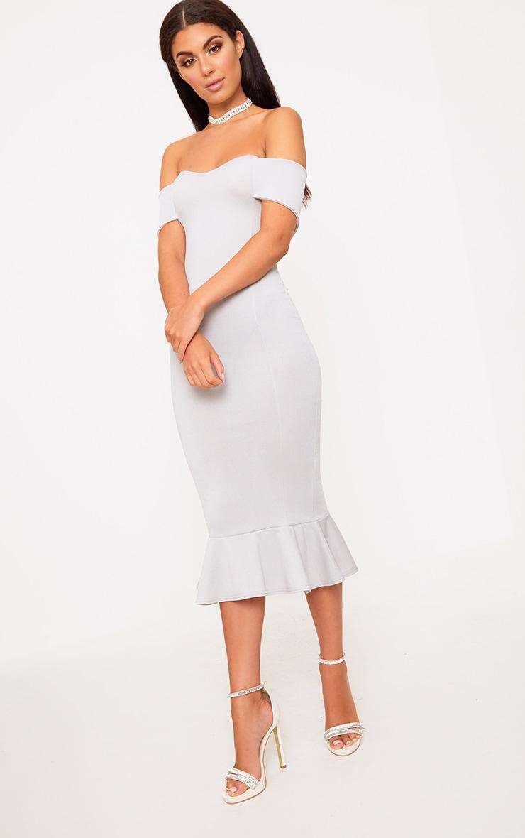 Ice Grey Bardot Frill Hem Midi Dress 3