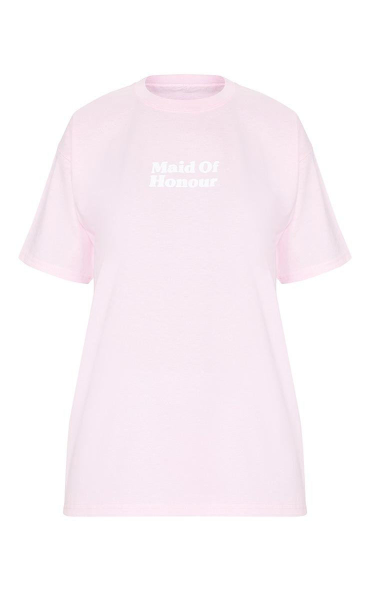 Baby Pink Maid Of Honour Slogan T Shirt 3