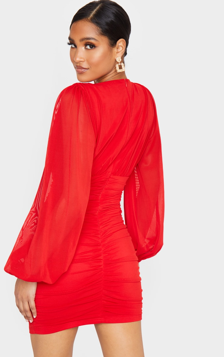 Red Mesh Ruched Balloon Sleeve Bodycon Dress 2