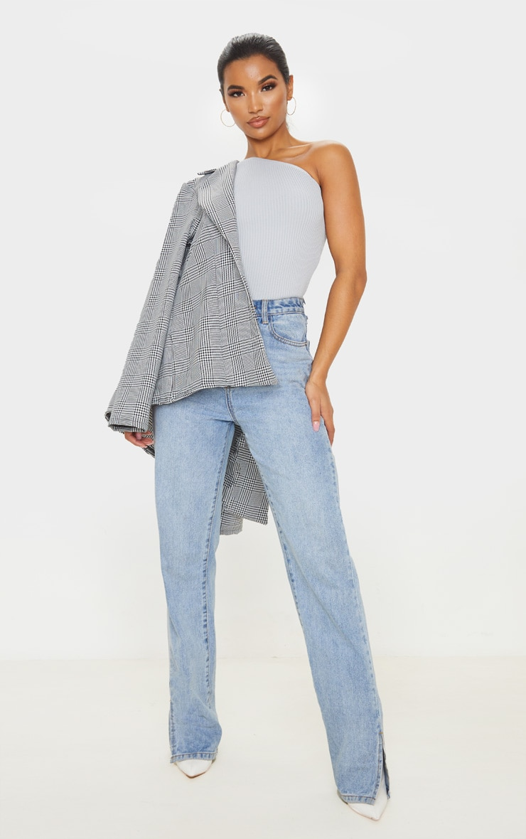 Grey Asymmetric One Sleeve Knitted Rib Top 4