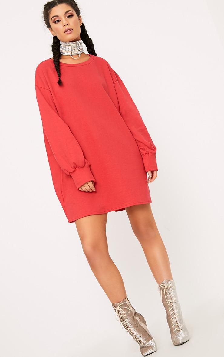 Sianna Red Oversized Sweater Dress 4