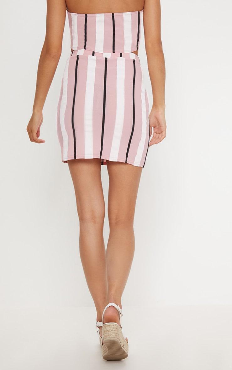 Baby Pink Stripe Crepe Button Detail Mini Skirt 4
