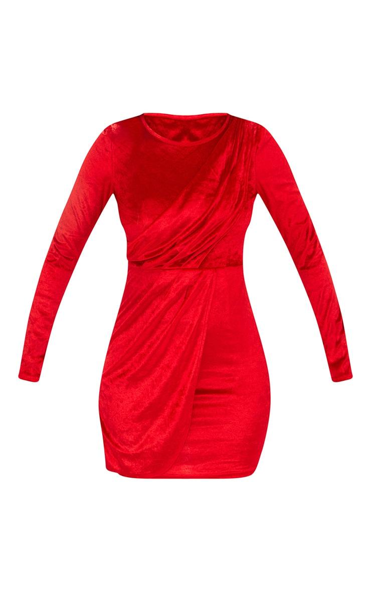 Red Long Sleeved Velvet Wrap Detail Bodycon Dress 3
