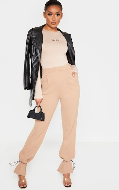 Camel Crepe Toggle Hem Trousers