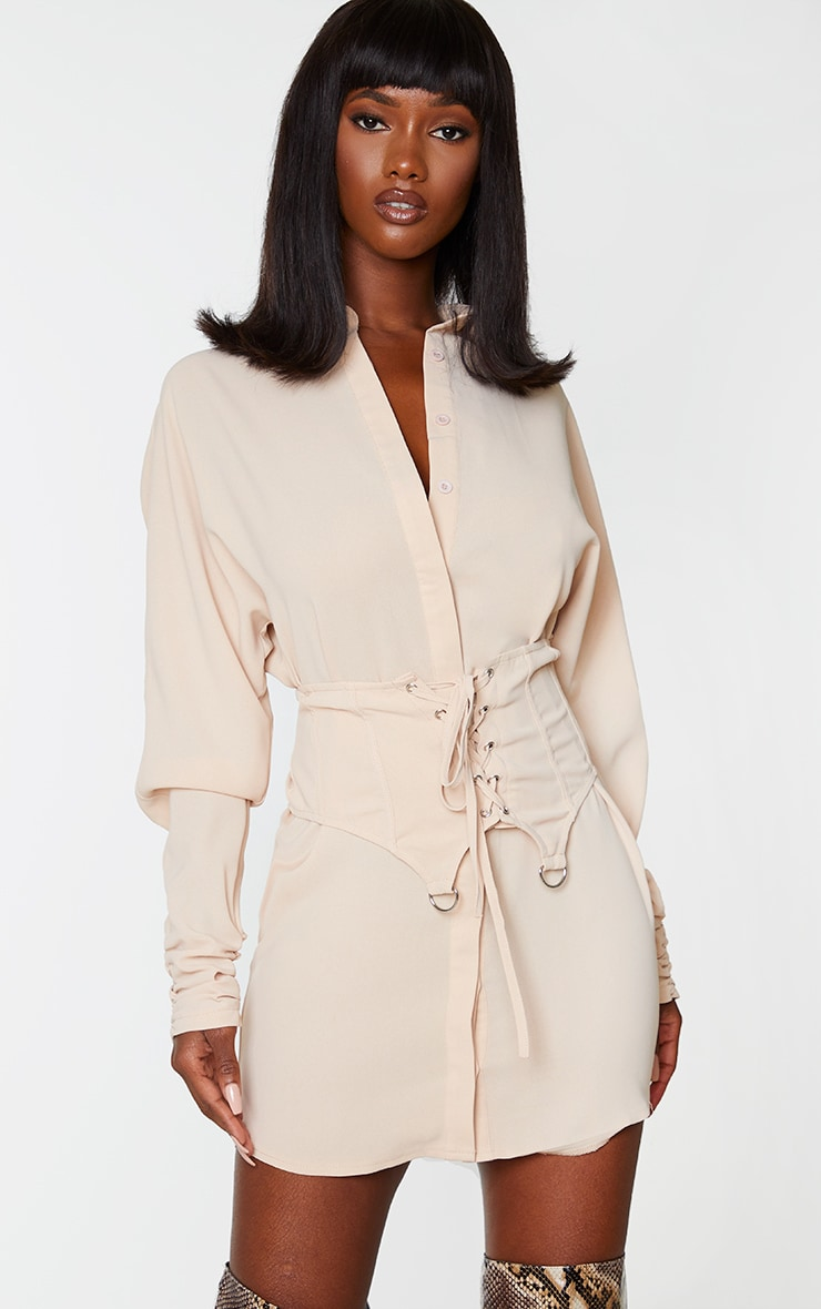 Stone Corset Waist Detail Shirt Dress 1