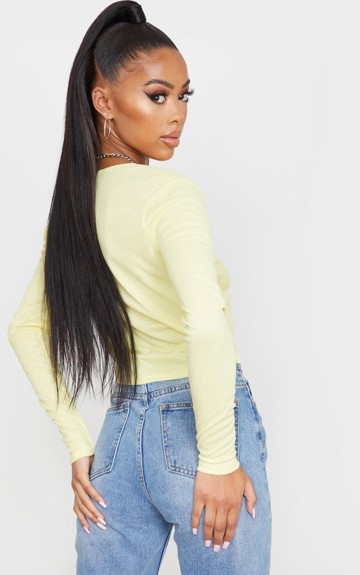 Lemon Rib Tie Front Long Sleeve Crop Top 2