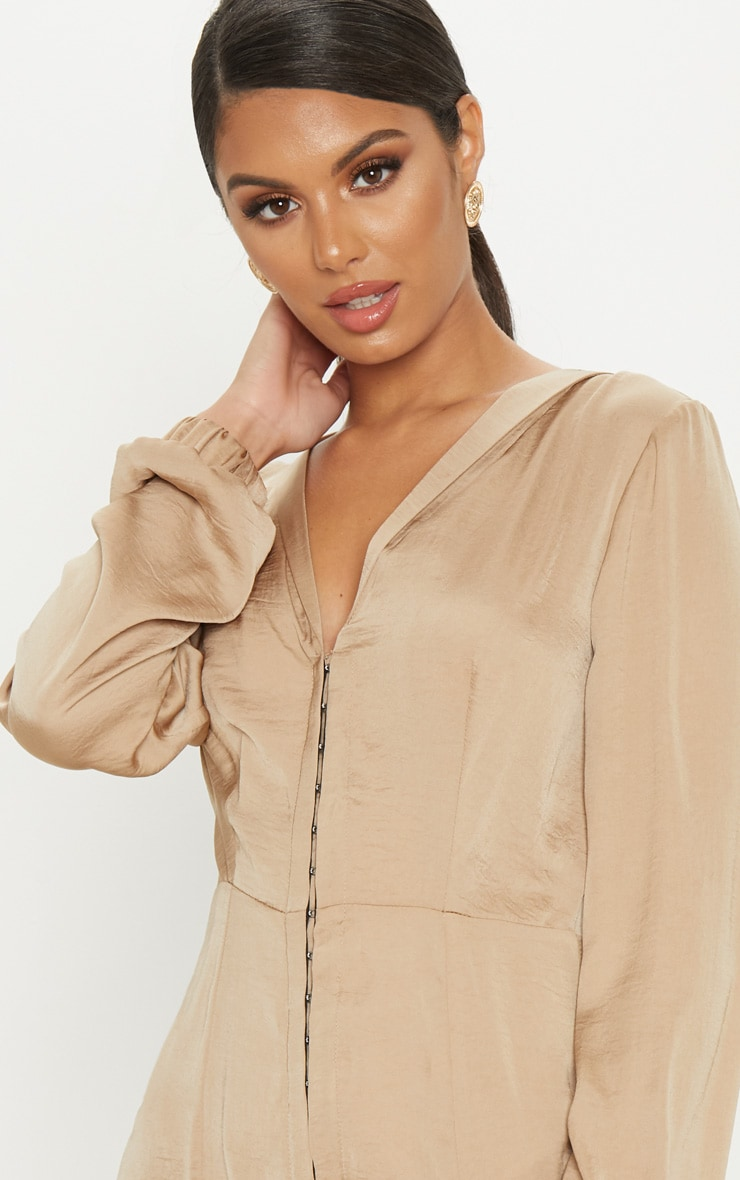 Taupe Satin Hook & Eye Shift Dress 5