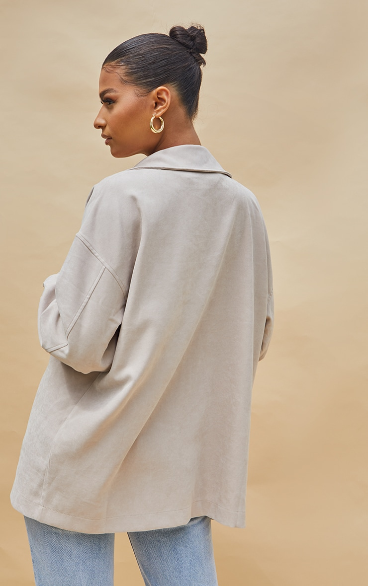 Stone Twill Pocket Detail Oversized Boxy Shirt 2