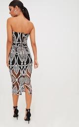 Premium Black Sequin Embroidered Bandeau Midi Dress 3