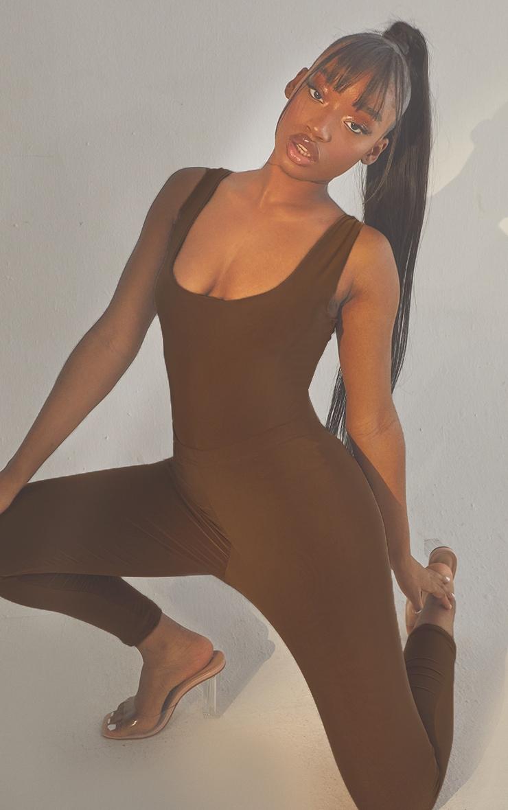 Second Skin Coffee Sleeveless Scoop Neck Bodysuit 1