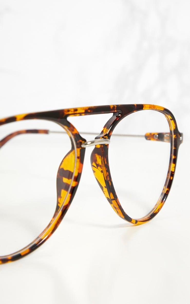 Tortouise Shell Aviator Clear Lensed Glasses 4