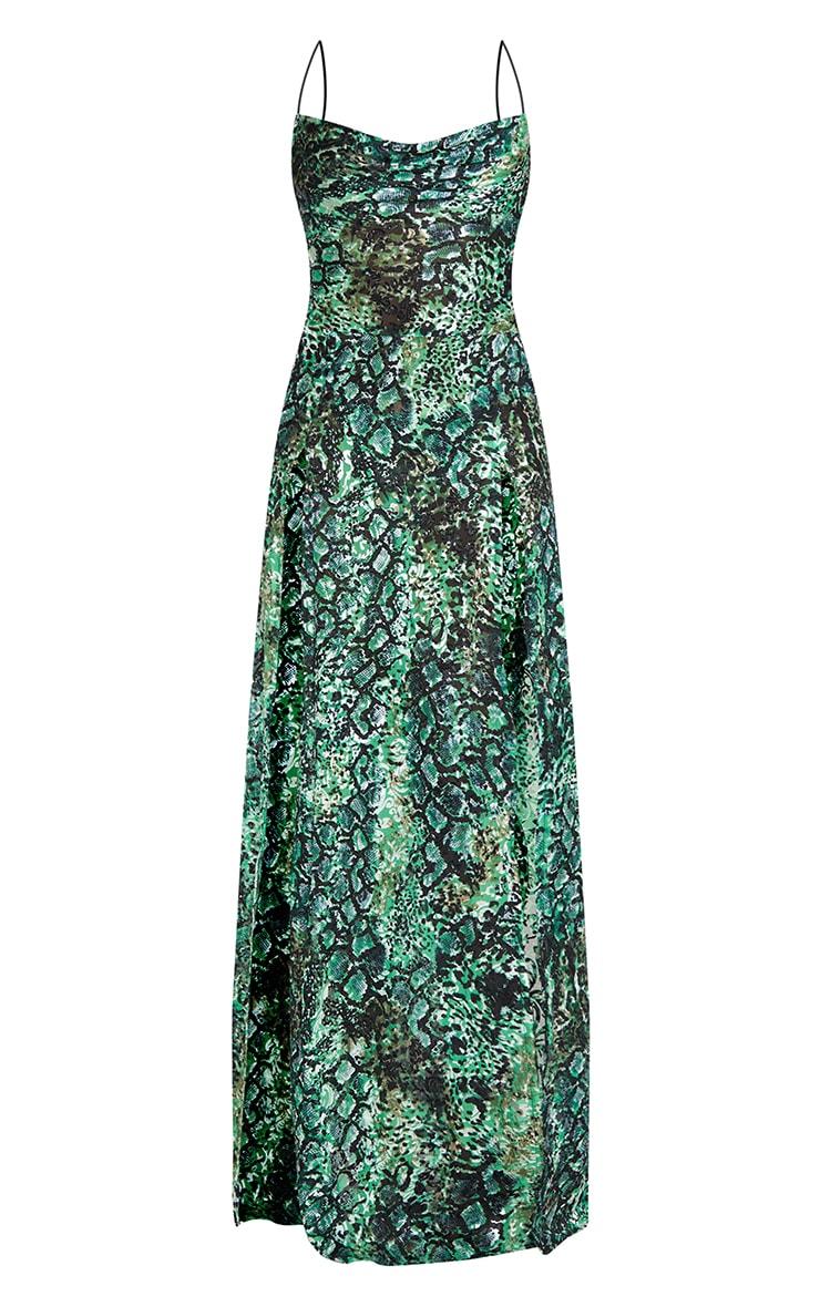 Green Croc Devore Cowl Neck Maxi Beach Dress 5