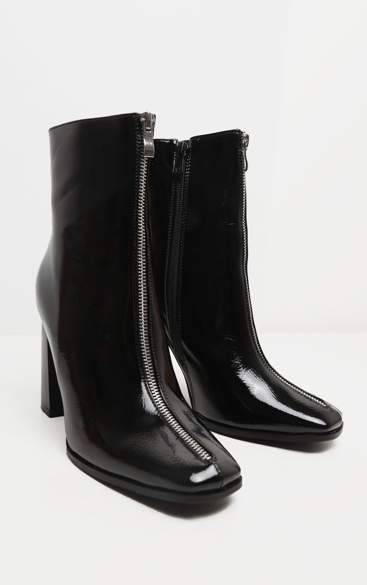 Black Zip Front Block Heel Ankle Boot 3