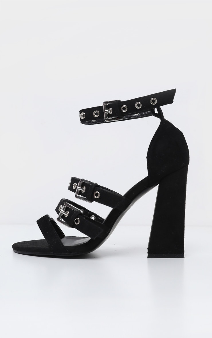 Black Eyelet Buckle Block Heel Sandal 4