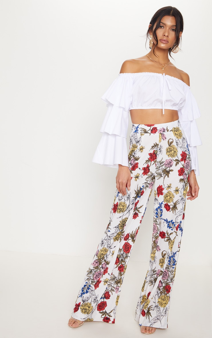 White Floral Wide Leg Trouser 1