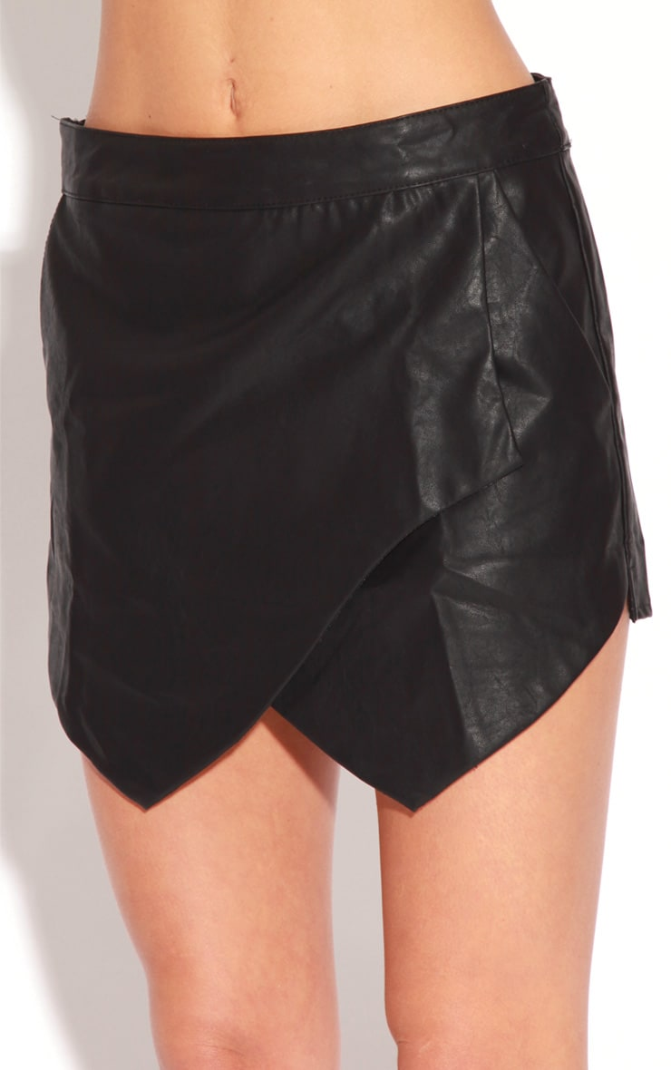 Maria Faux Leather Cross Over Skort-8 2