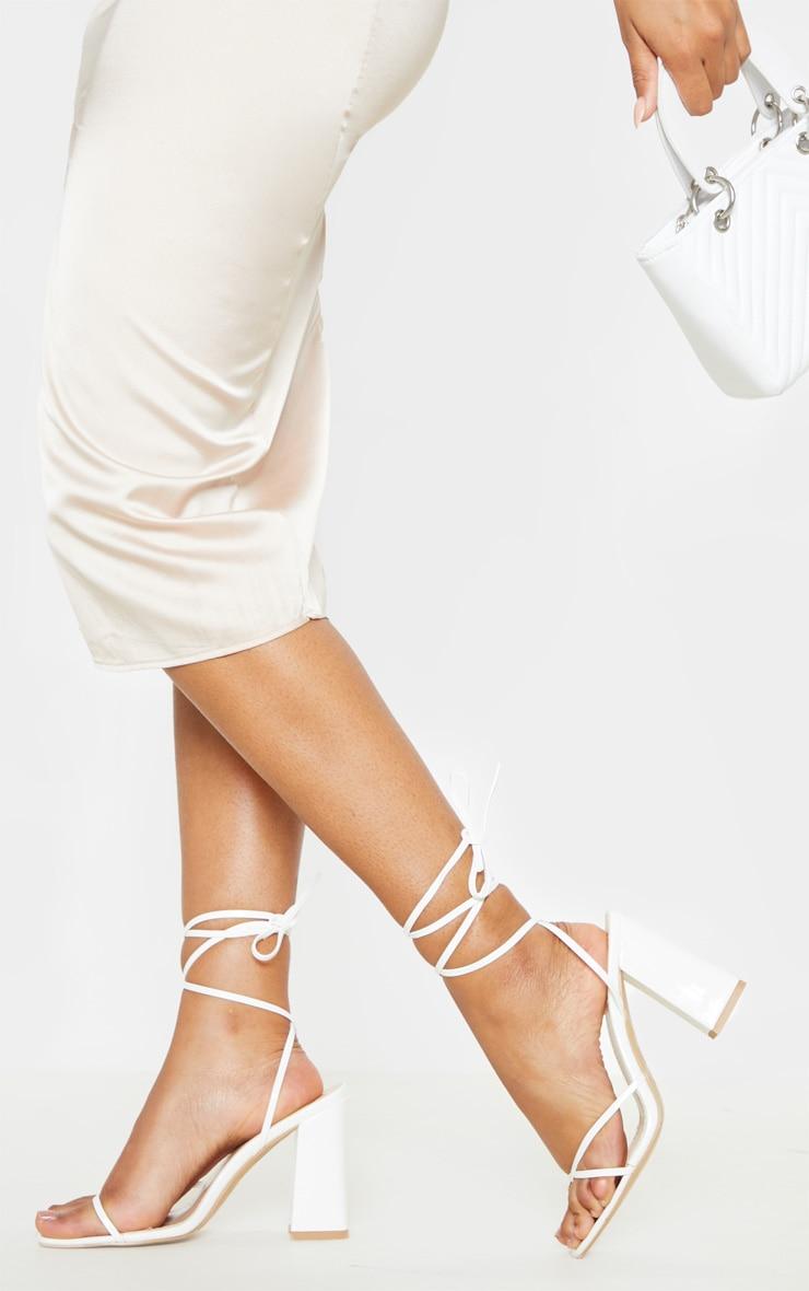 White Block Heel Ankle Tie Toe Thong Sandal 1