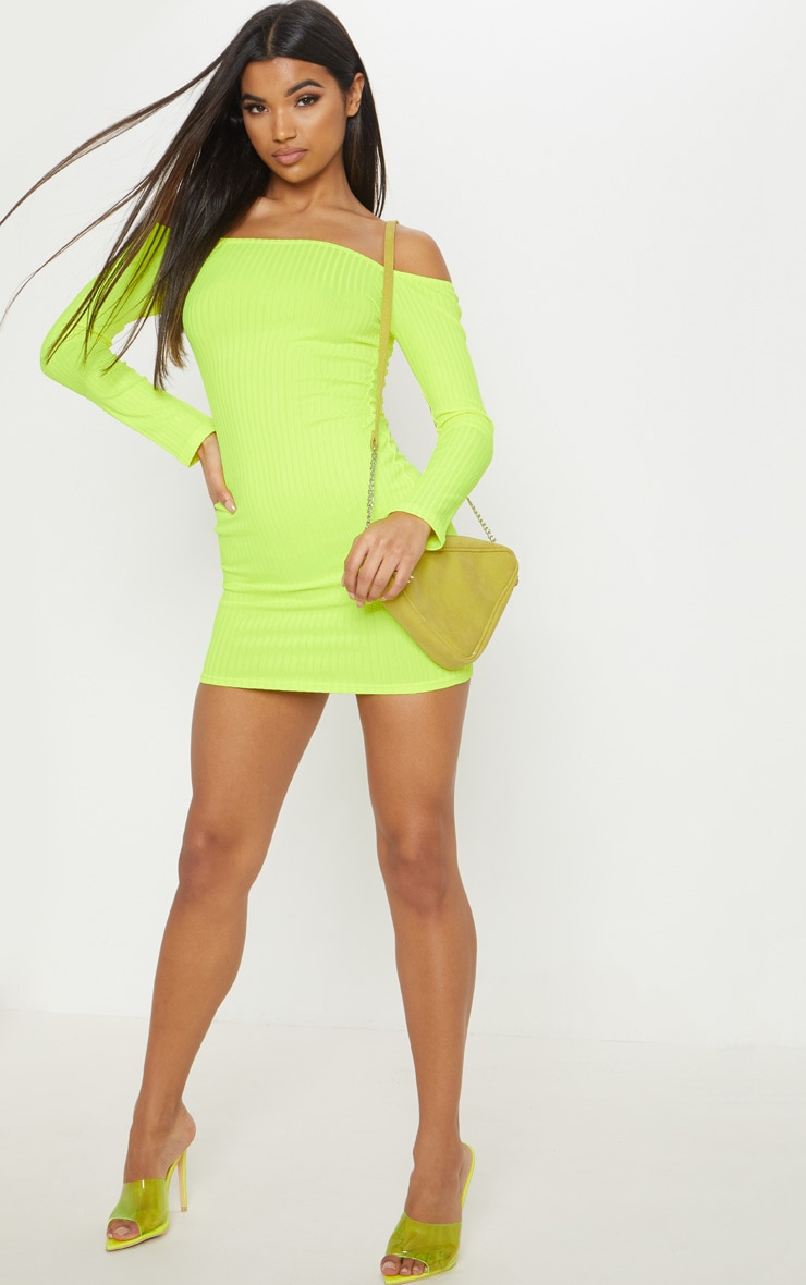 Neon Yellow Ribbed Long Sleeve Square Neck Bodycon Dress 4