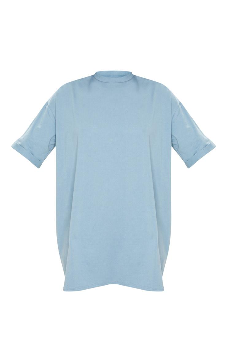 PRETTYLITTLETHING Lead Grey Oversized Slogan T Shirt Dress 3