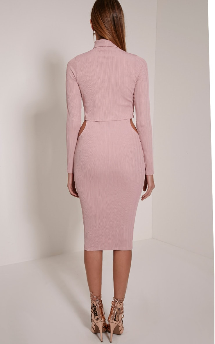 Alma Mauve Ribbed Cut Out Long Sleeve Midi Dress 2