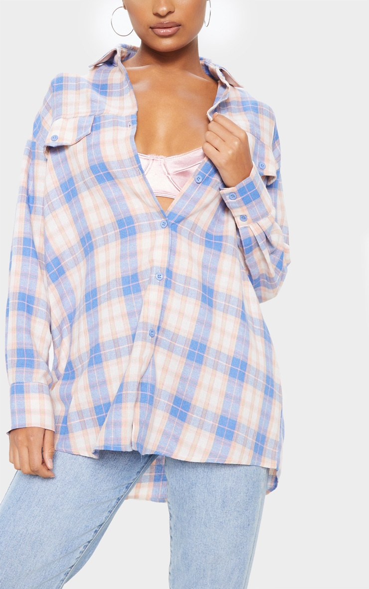 Pale Blue Checked Oversized Pocket Detail Shirt 5