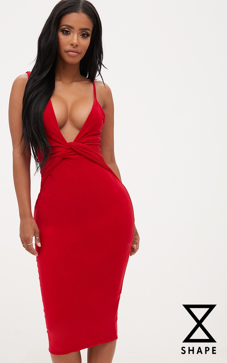 Shape Red Knot Front Plunge Midi Dress 1