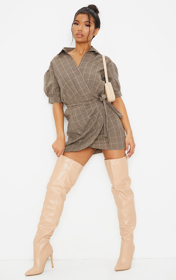 Beige Check Print Puff Sleeve Wrap Front Bodycon Dress 3