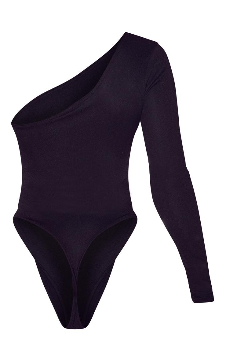 Black Stretch Crepe One Shoulder Thong Bodysuit  4