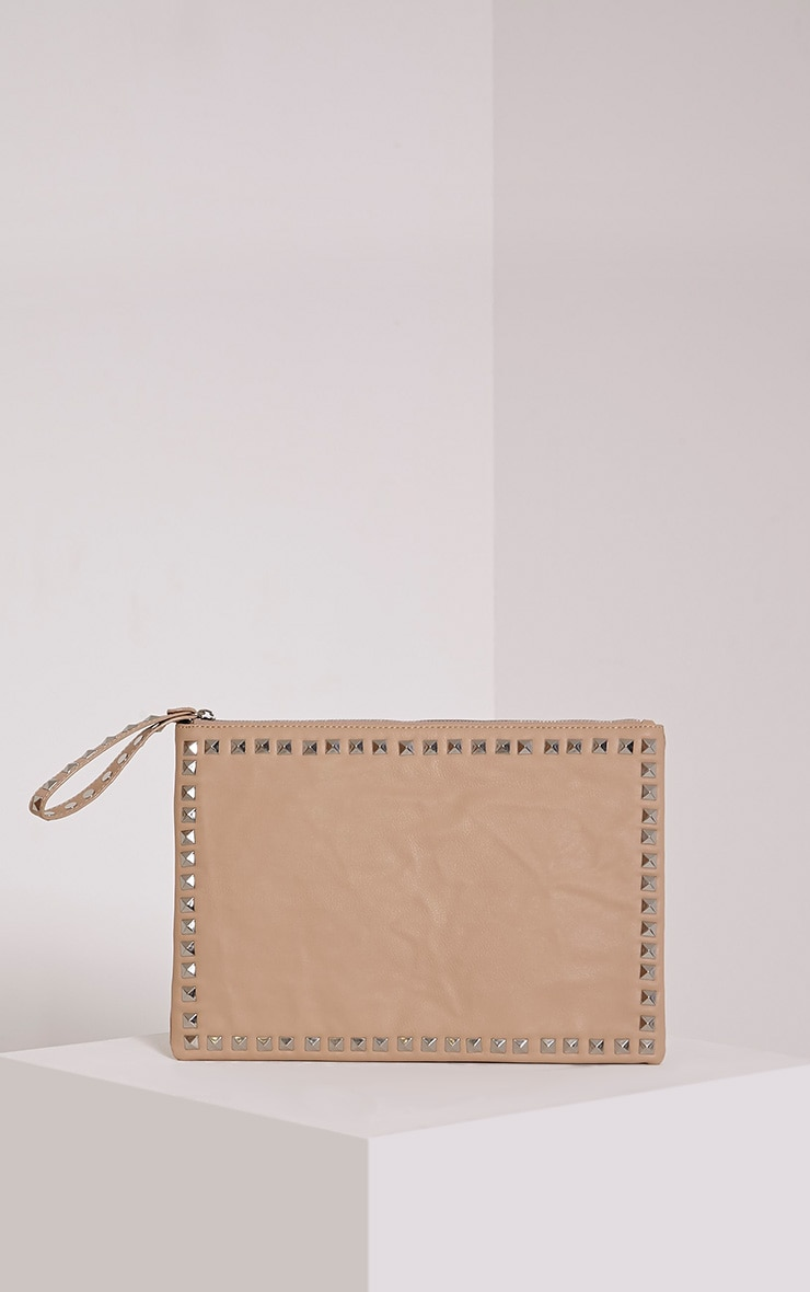 Ianthe Cream Studded Clutch 1