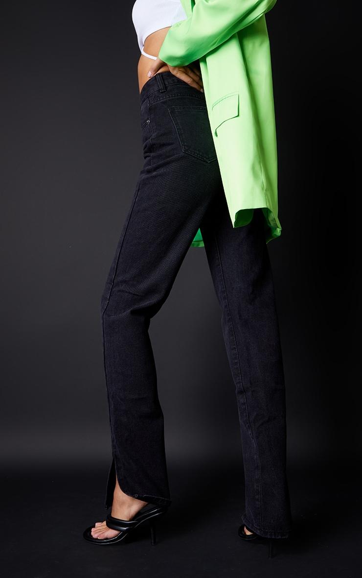 Tall Washed Black Split Hem Jeans 3