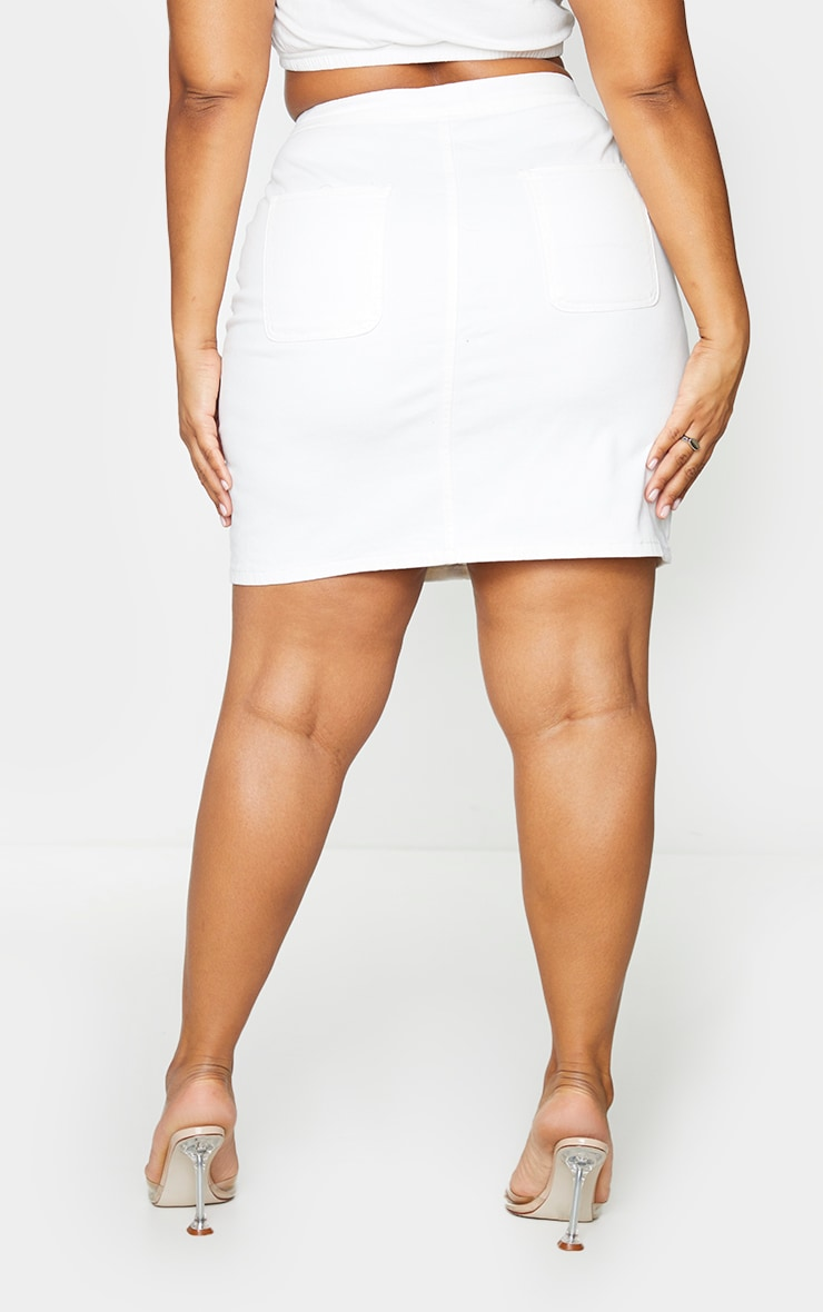 Plus White Disco Fit Denim Skirt 3
