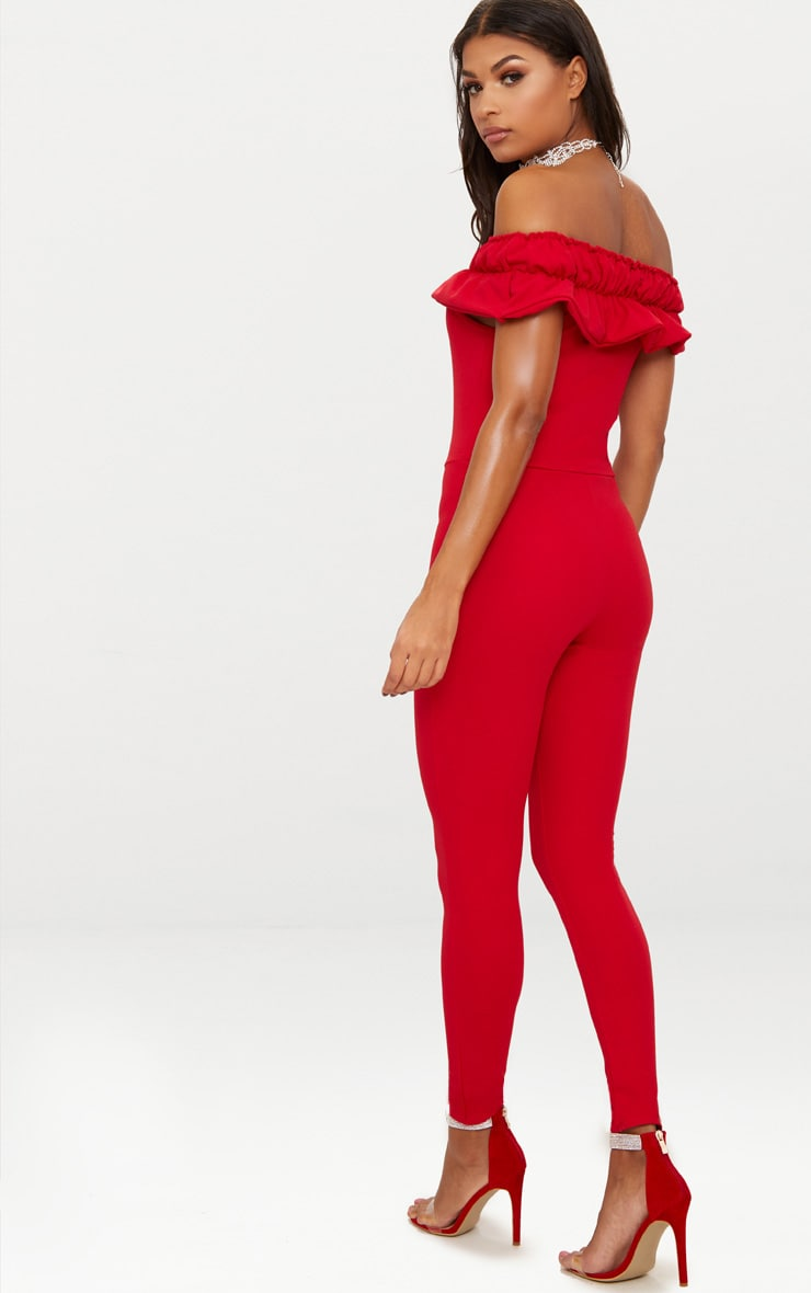 Red Crepe Frill Jumpsuit 2