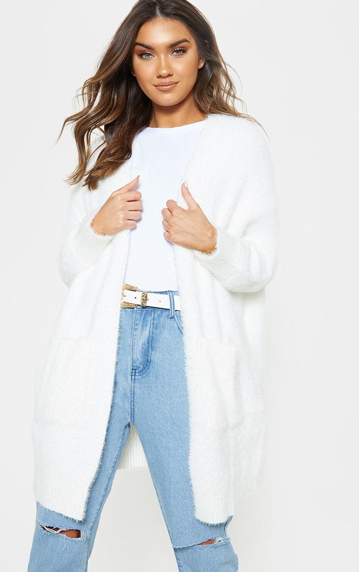 Cream Eyelash Knitted Cardigan 1