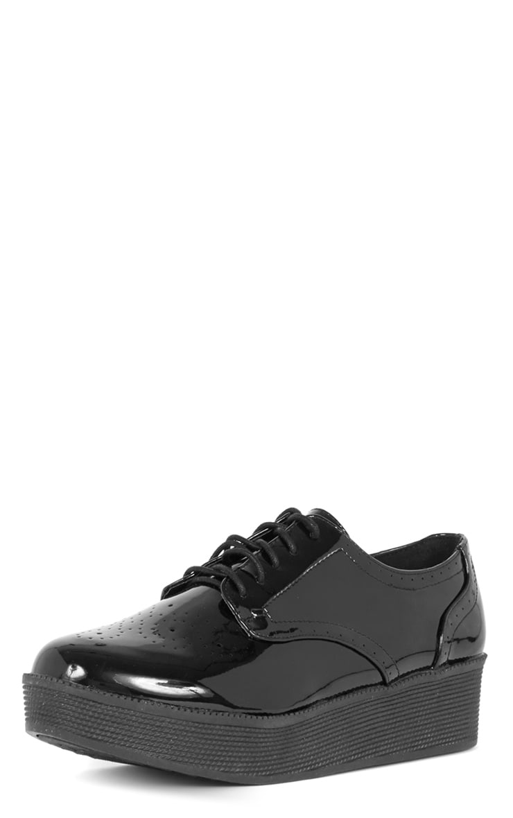 Reza Black Patent Flatform Brogue  4